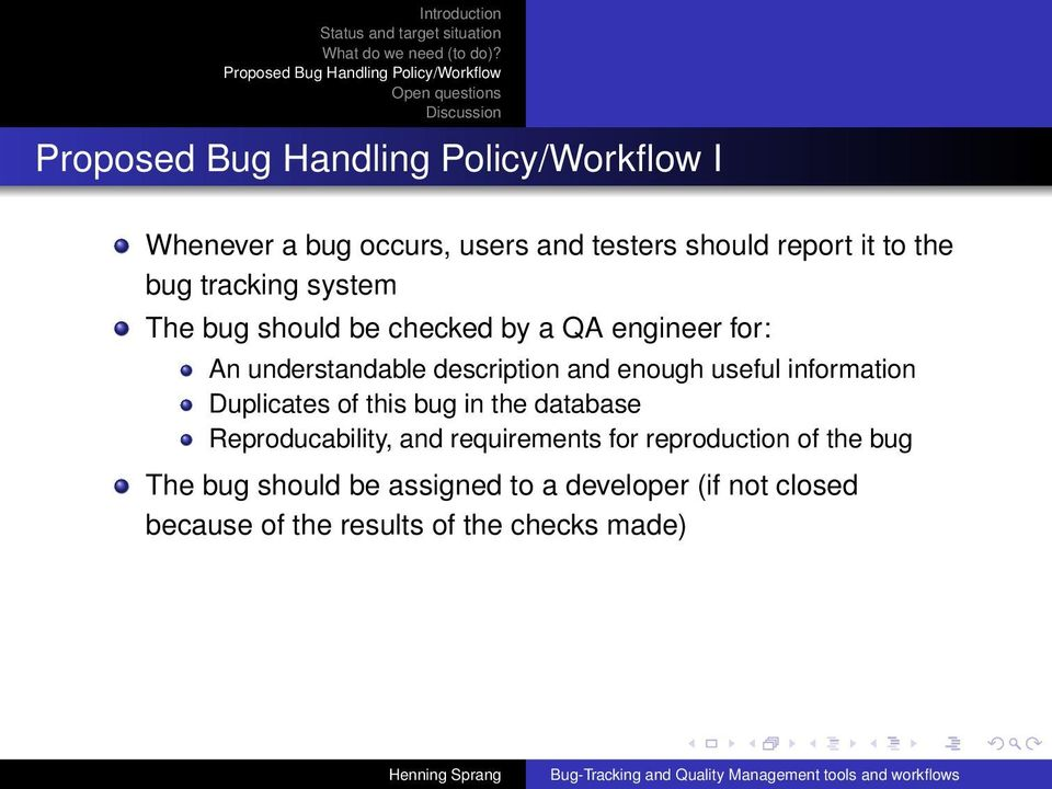 Bug-Tracking and Quality Management tools and workflows - PDF