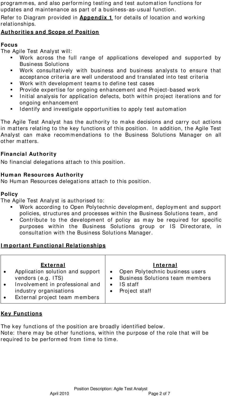 Authorities and Scope of Position Focus The Agile Test Analyst will: Work across the full range of applications developed and supported by Business Solutions Work consultatively with business and