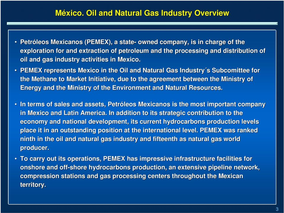 and gas industry activities in Mexico.
