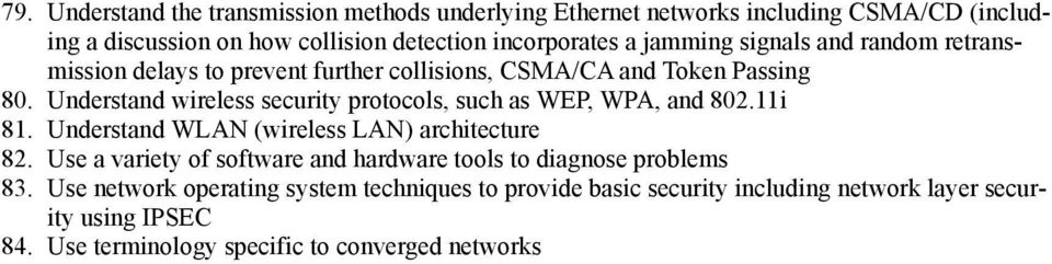 Understand wireless security protocols, such as WEP, WPA, and 802.11i 81. Understand WLAN (wireless LAN) architecture 82.