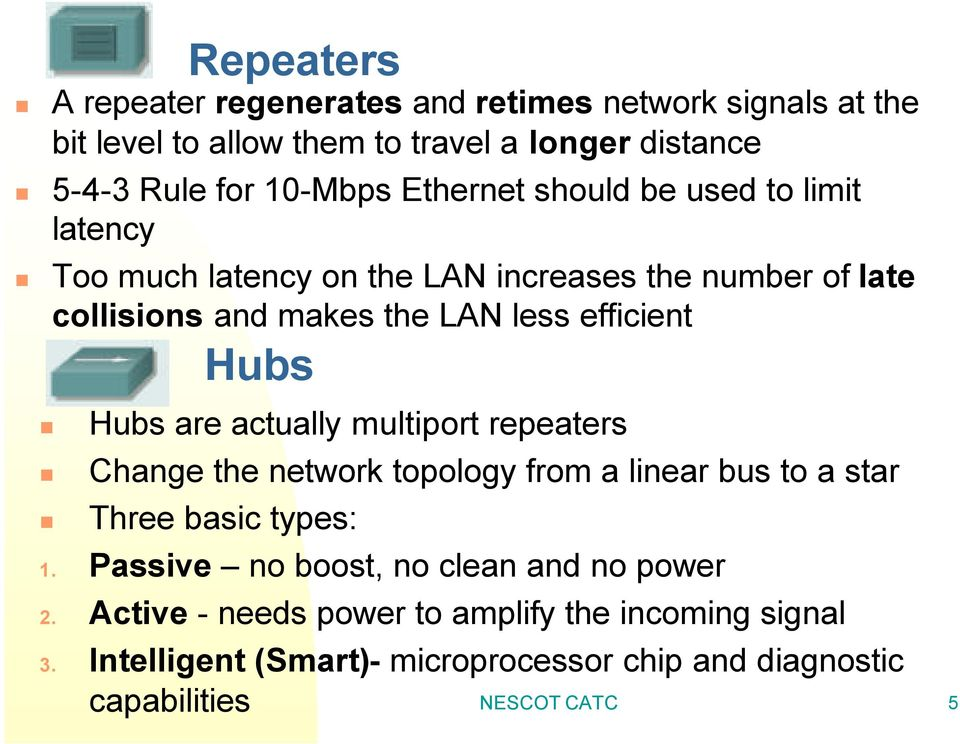 Hubs are actually multiport repeaters Change the network topology from a linear bus to a star Three basic types: 1.