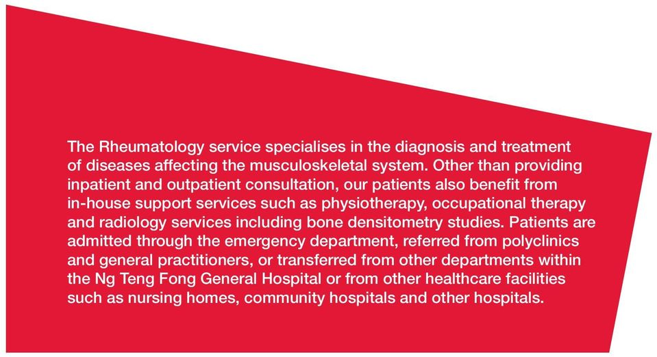 therapy and radiology services including bone densitometry studies.