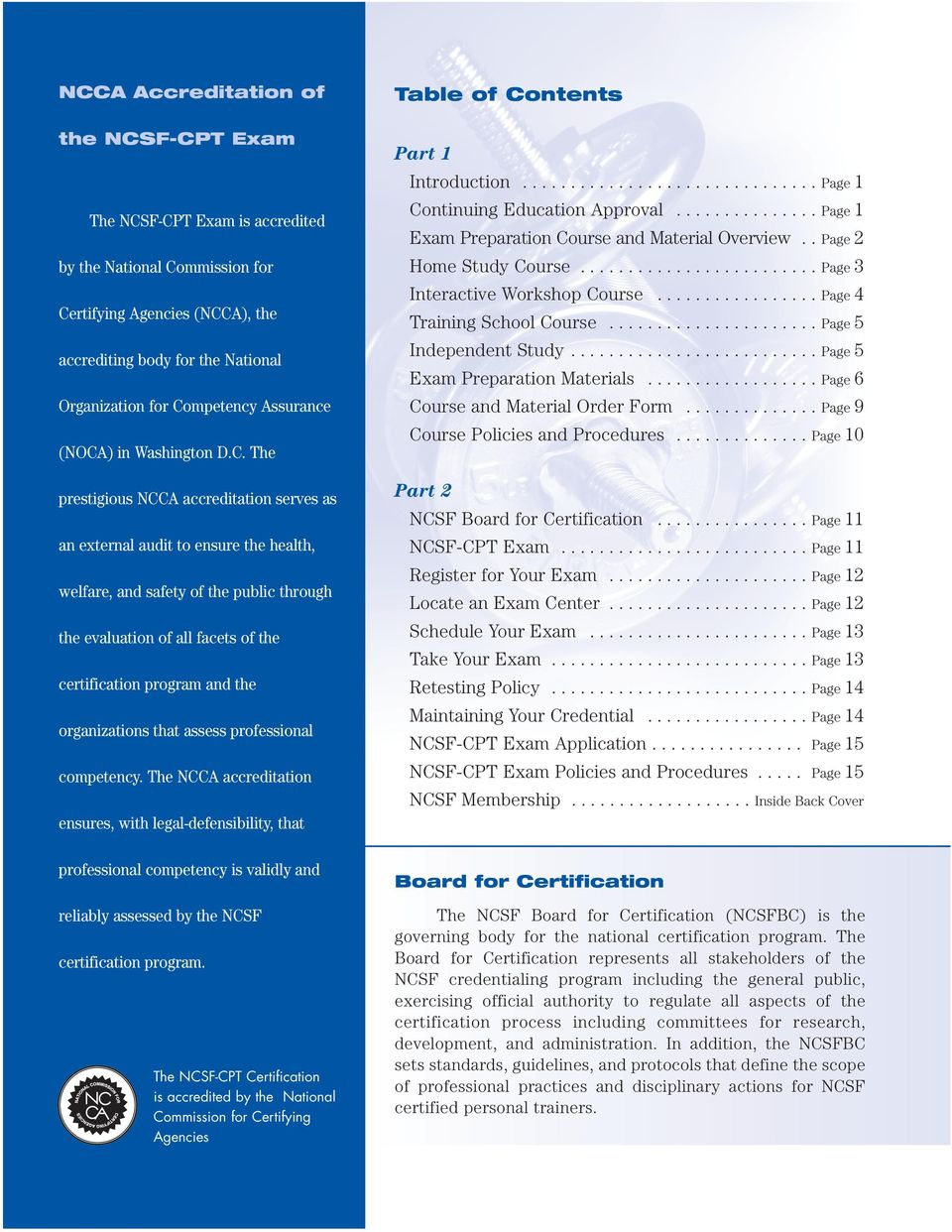 Ncca Accredited The Ncsf Cpt Certification Is Accredited By The