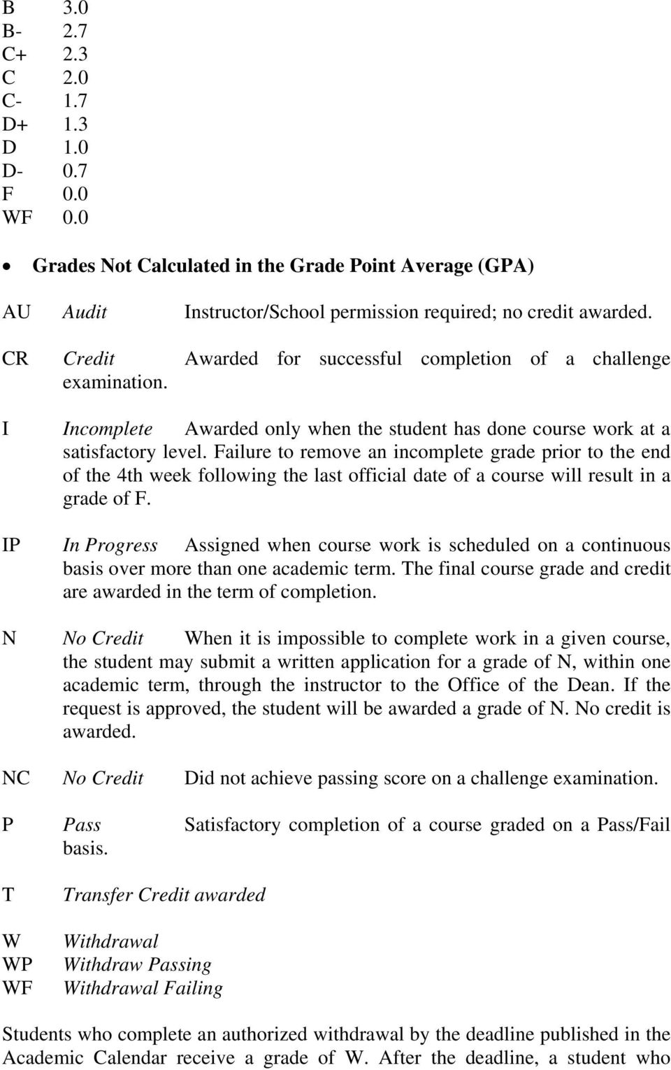 Failure to remove an incomplete grade prior to the end of the 4th week following the last official date of a course will result in a grade of F.
