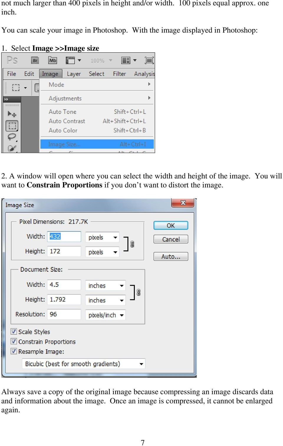 A window will open where you can select the width and height of the image.