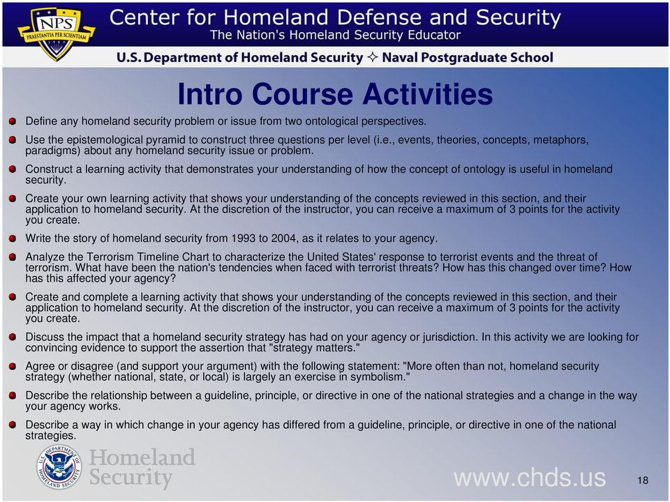 Create your own learning activity that shows your understanding of the concepts reviewed in this section, and their application to homeland security.