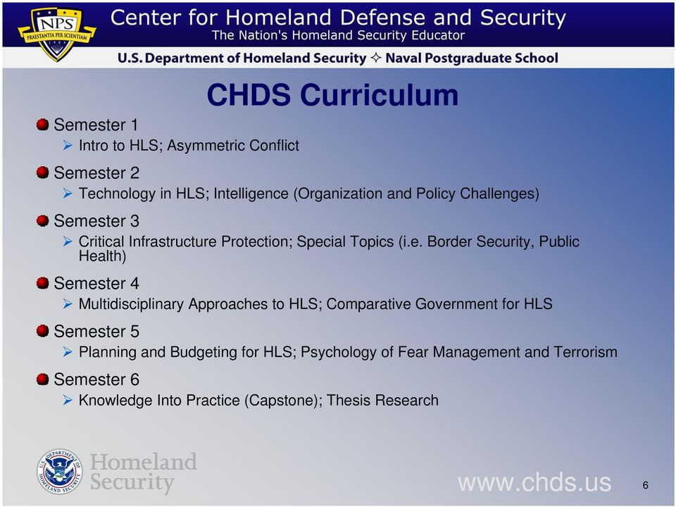 ges) Semester 3 Critical Infrastructure Protection; Special Topics (i.e. Border Security, Public Health) Semester 4