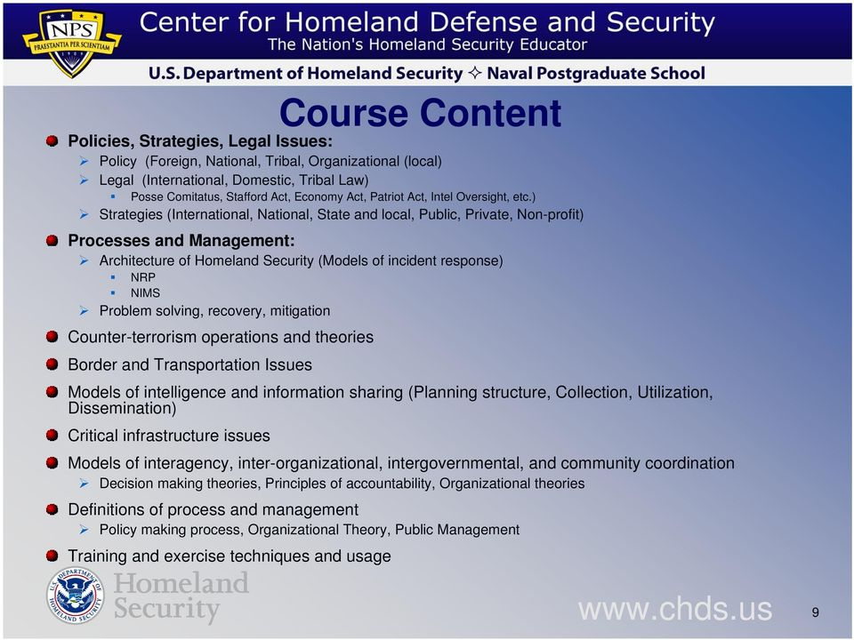 ) Strategies (International, National, State and local, Public, Private, Non-profit) Processes and Management: Architecture of Homeland Security (Models of incident response) NRP NIMS Problem