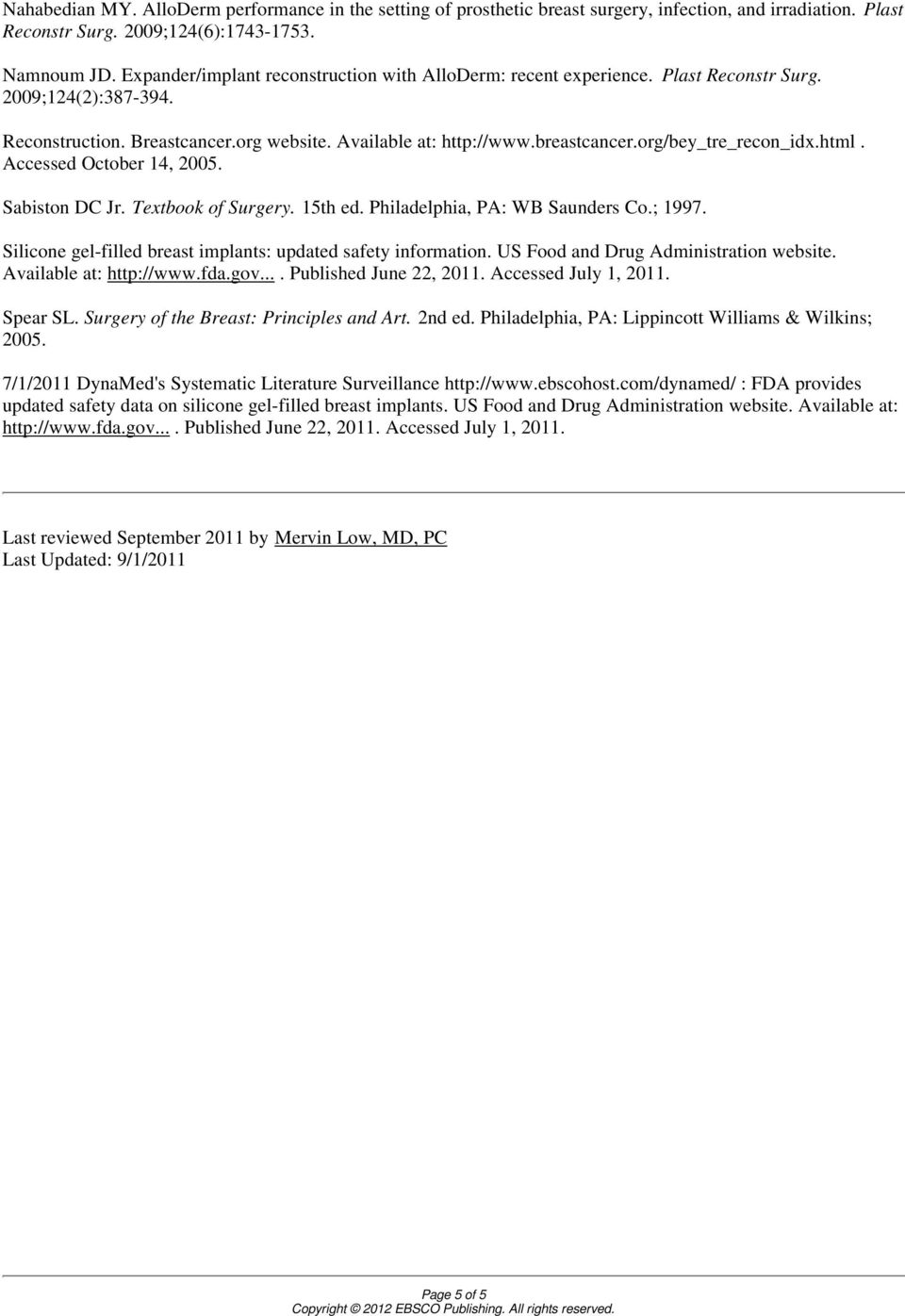 org/bey_tre_recon_idx.html. Accessed October 14, 2005. Sabiston DC Jr. Textbook of Surgery. 15th ed. Philadelphia, PA: WB Saunders Co.; 1997.