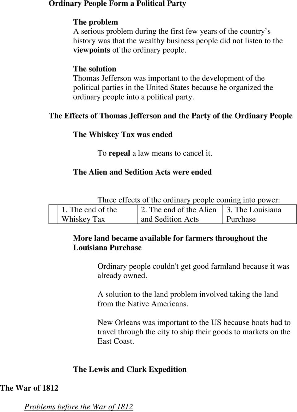 The Effects of Thomas Jefferson and the Party of the Ordinary People The Whiskey Tax was ended To repeal a law means to cancel it.