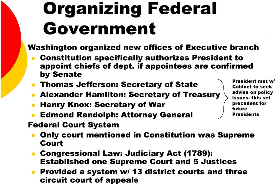 Attorney General Federal Court System President met w/ Cabinet to seek advise on policy issues- this set precedent for future Presidents Only court mentioned in