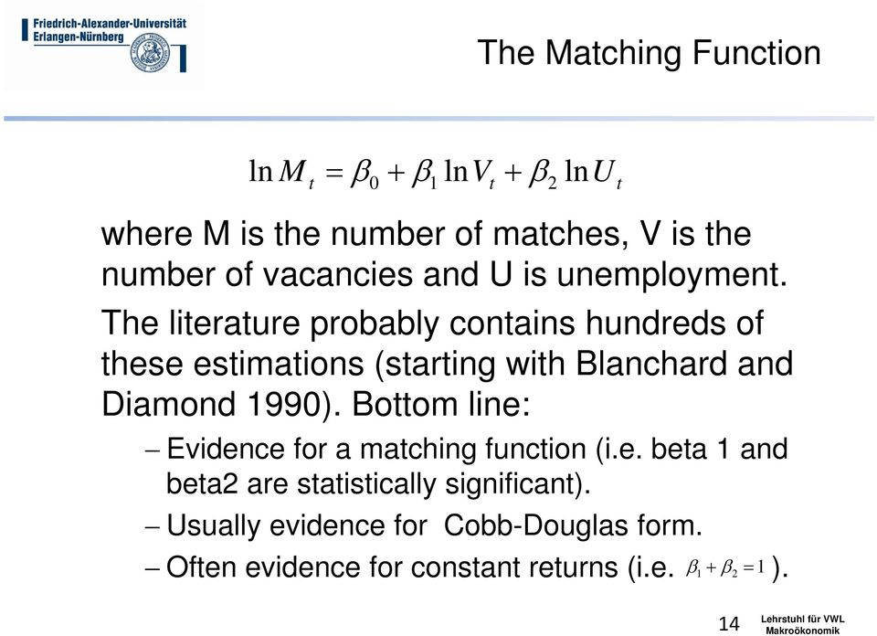 The literature probably contains hundreds of these estimations (starting with Blanchard and Diamond 1990).