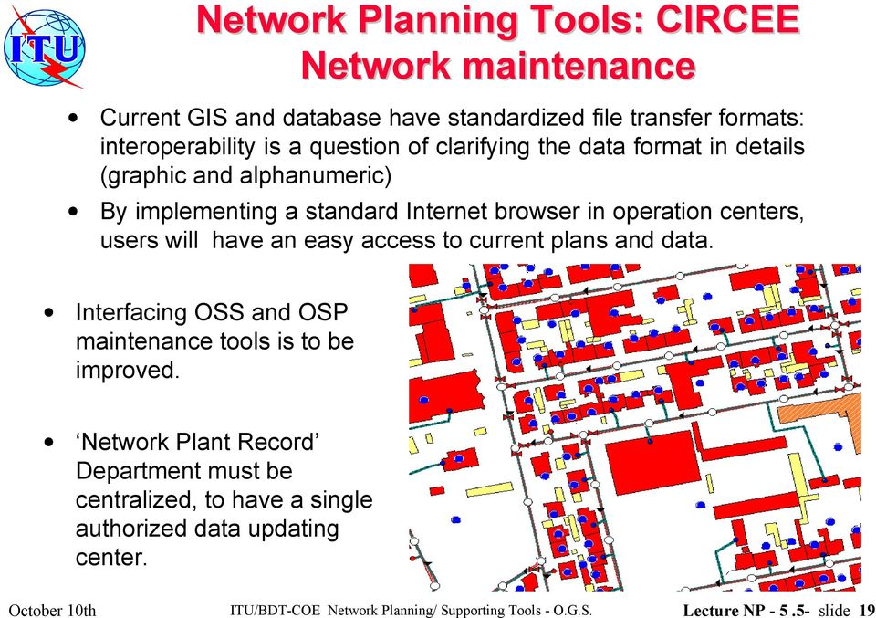 an easy access to current plans and data. Interfacing OSS and OSP maintenance tools is to be improved.