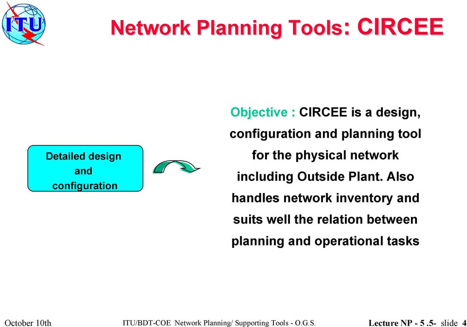 Also handles network inventory and suits well the relation between planning and operational