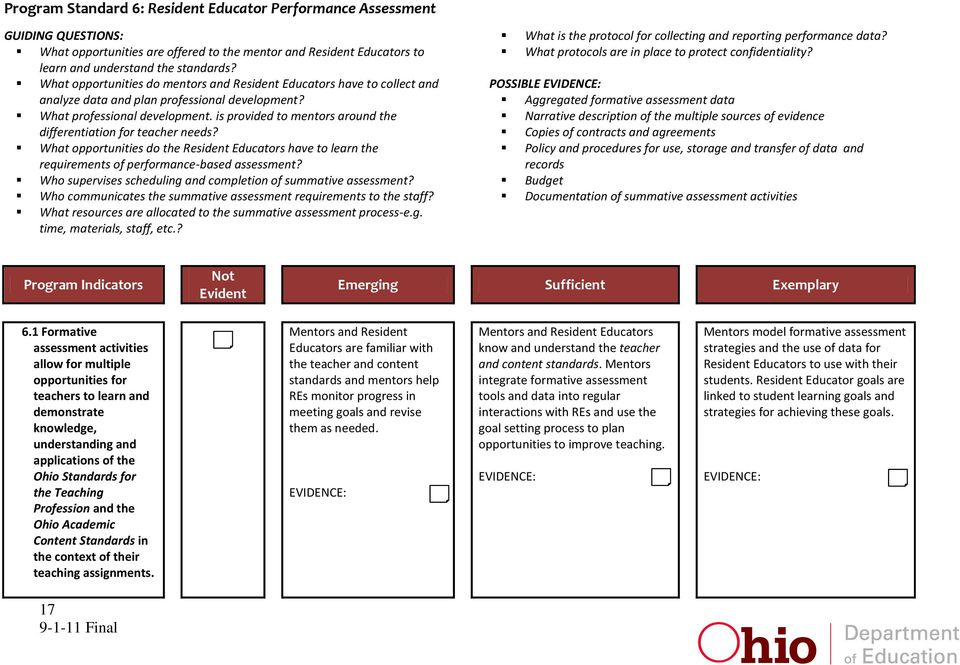 is provided to mentors around the differentiation for teacher needs? What opportunities do the Resident Educators have to learn the requirements of performance-based assessment?
