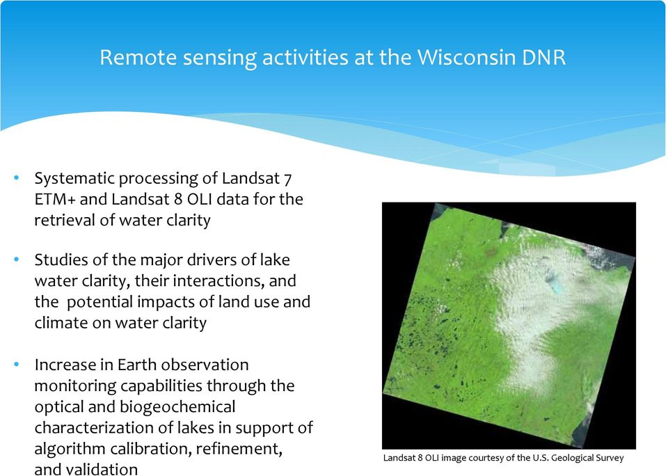 climate on water clarity Increase in Earth observation monitoring capabilities through the optical and biogeochemical