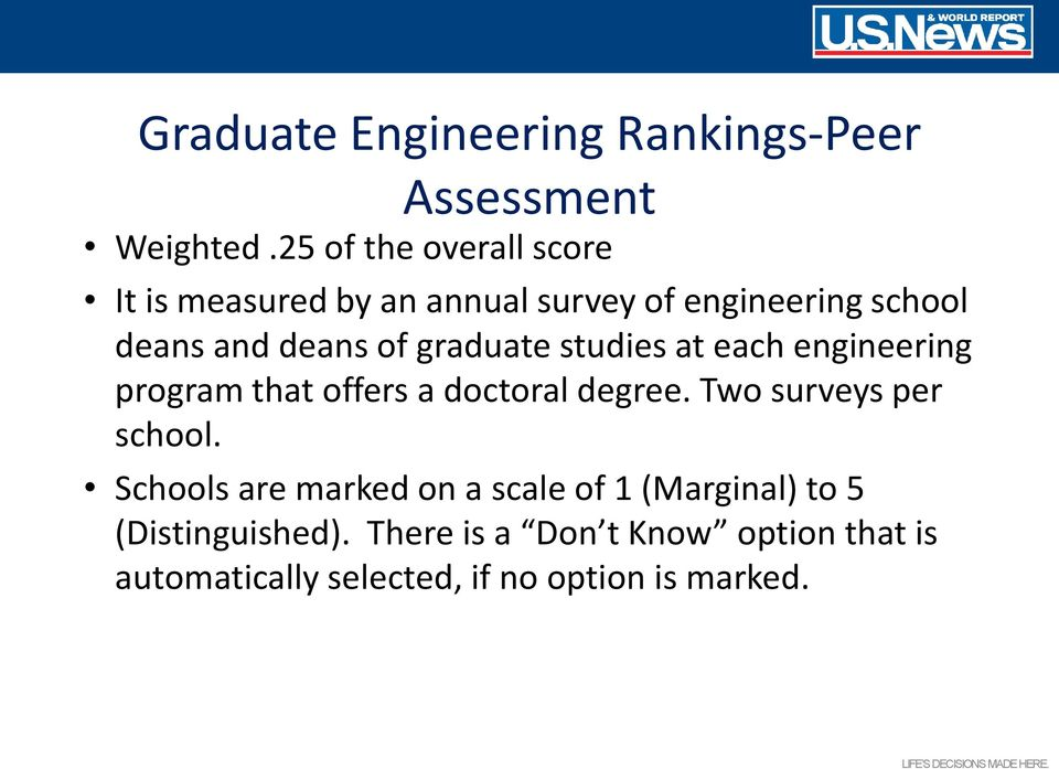 graduate studies at each engineering program that offers a doctoral degree. Two surveys per school.