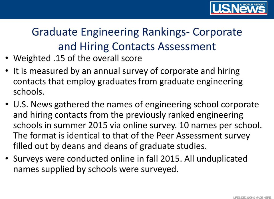 News gathered the names of engineering school corporate and hiring contacts from the previously ranked engineering schools in summer 2015 via online survey.