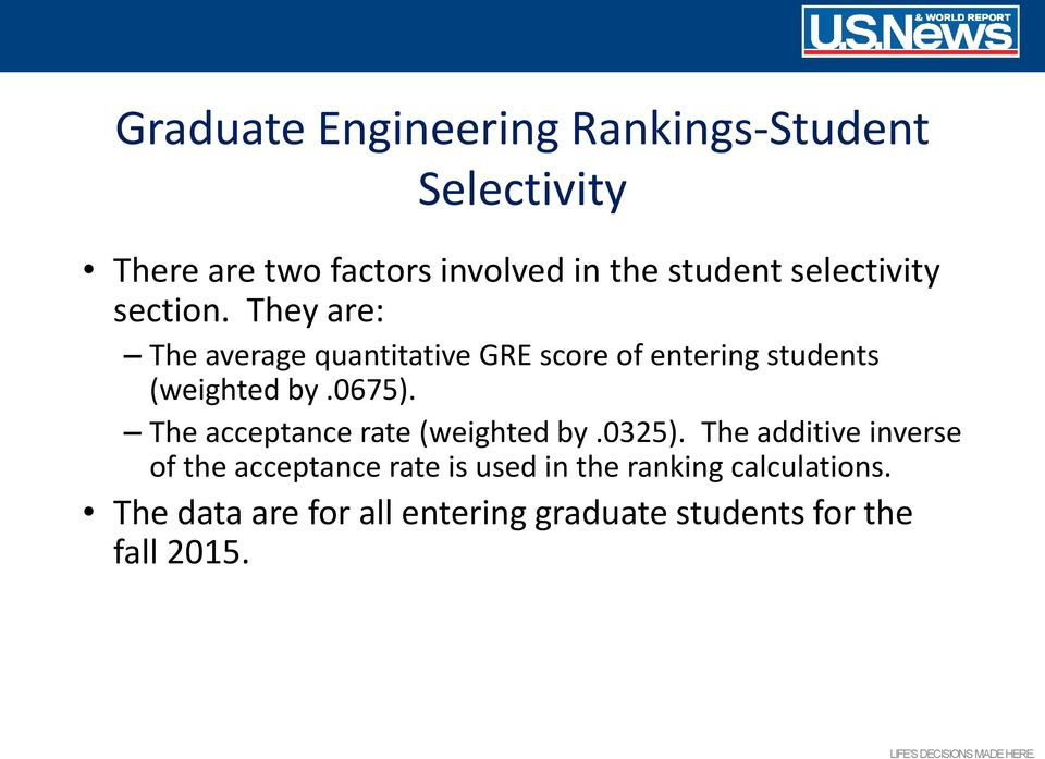 They are: The average quantitative GRE score of entering students (weighted by.0675).
