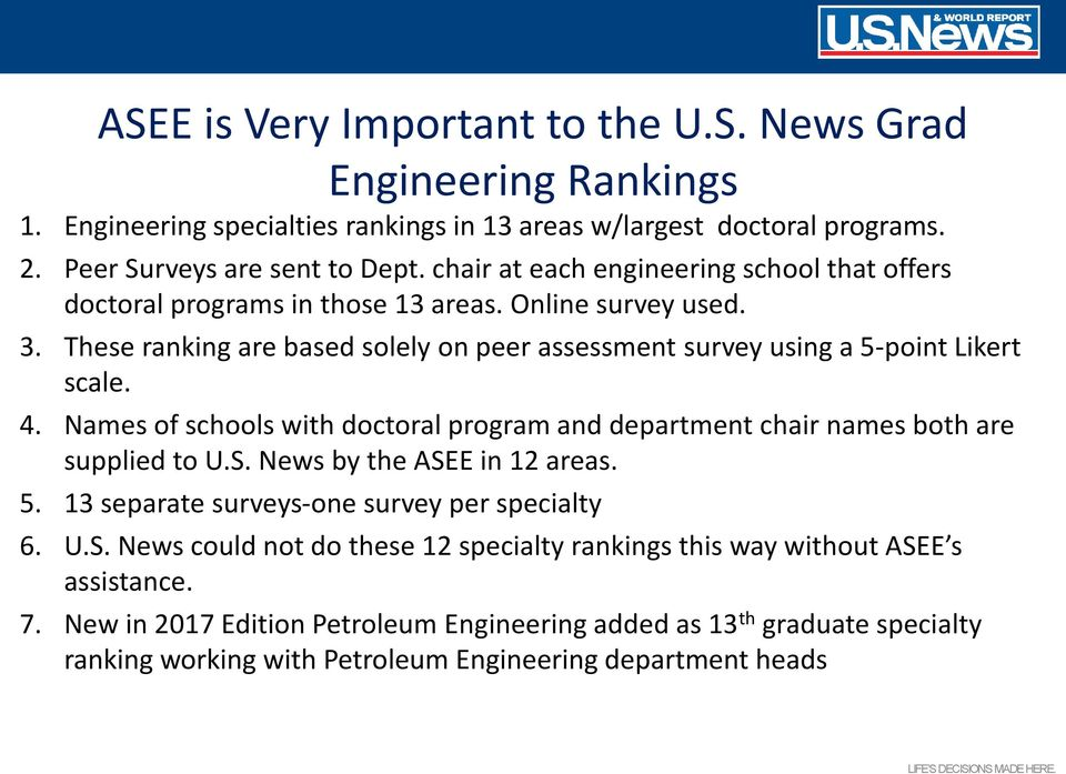 4. Names of schools with doctoral program and department chair names both are supplied to U.S. News by the ASEE in 12 areas. 5. 13 separate surveys-one survey per specialty 6. U.S. News could not do these 12 specialty rankings this way without ASEE s assistance.