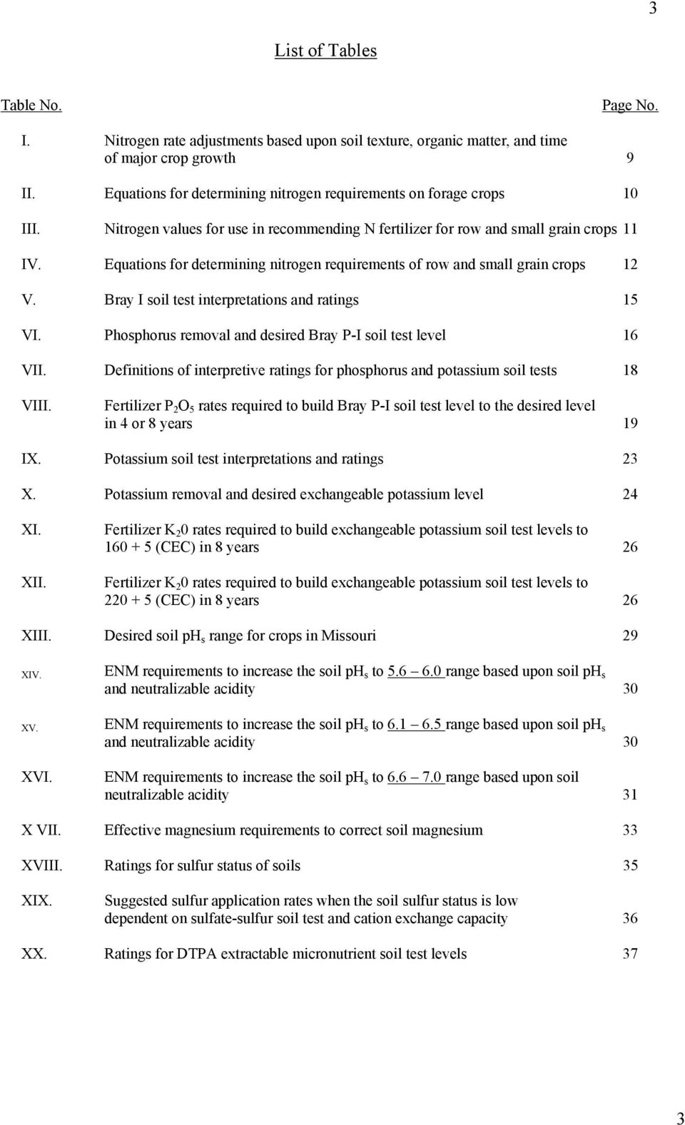 Equations for determining nitrogen requirements of row and small grain crops 12 V. Bray I soil test interpretations and ratings 15 VI. Phosphorus removal and desired Bray P-I soil test level 16 VII.