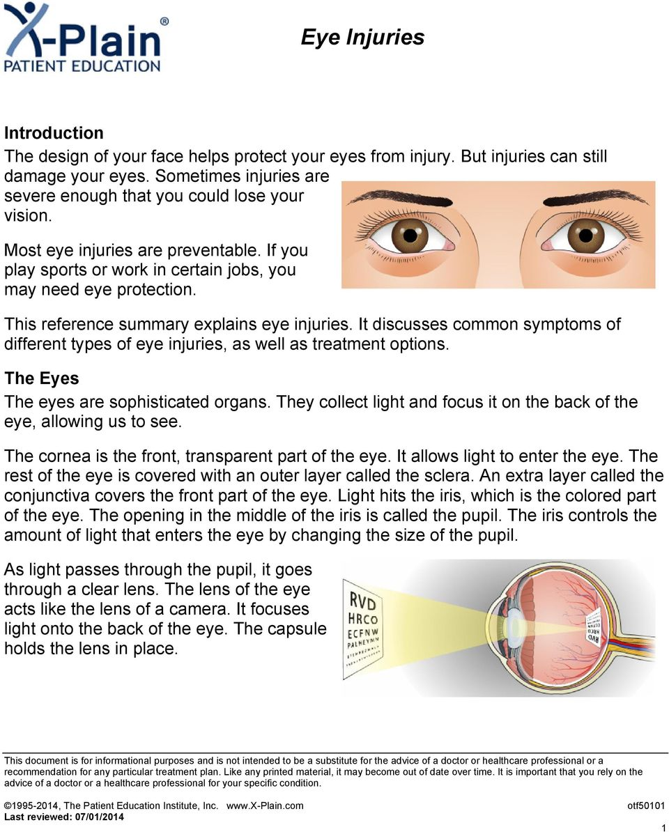 It discusses common symptoms of different types of eye injuries, as well as treatment options. The Eyes The eyes are sophisticated organs.
