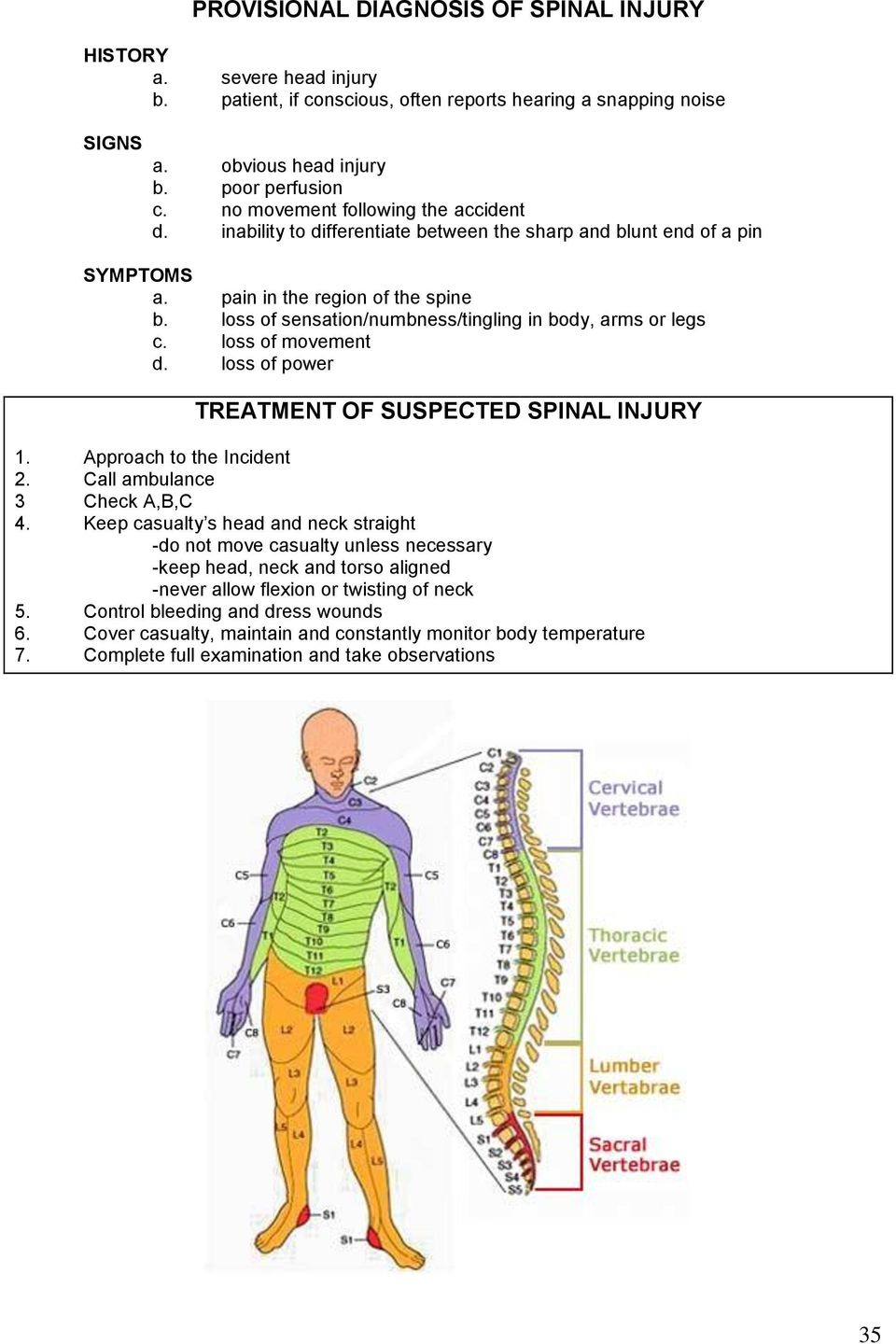 loss of sensation/numbness/tingling in body, arms or legs c. loss of movement d. loss of power TREATMENT OF SUSPECTED SPINAL INJURY 1. Approach to the Incident 2. Call ambulance 3 Check A,B,C 4.
