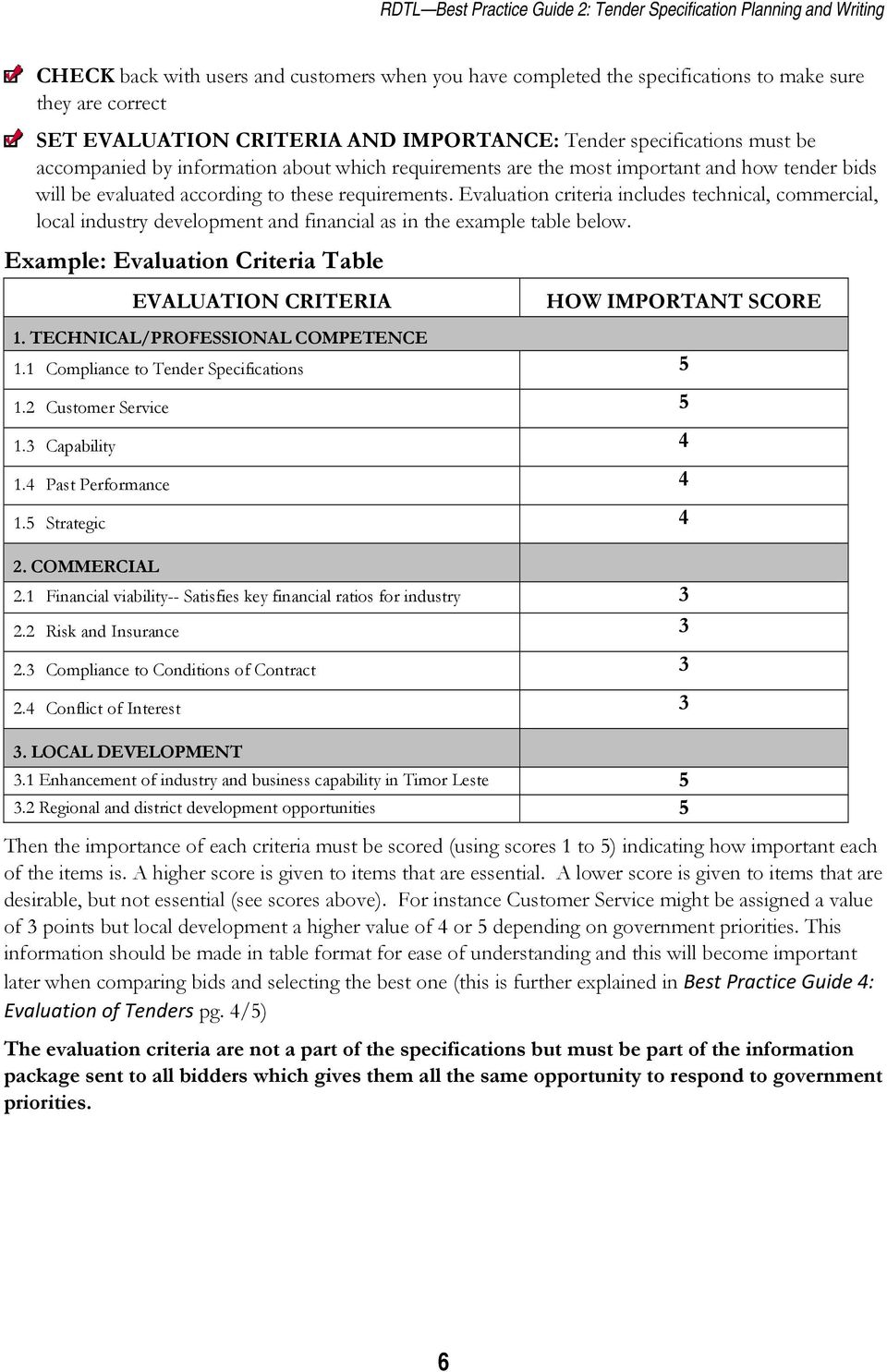 Evaluation criteria includes technical, commercial, local industry development and financial as in the example table below.