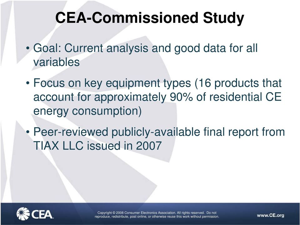 account for approximately 90% of residential CE energy