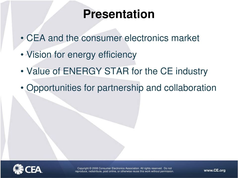 efficiency Value of ENERGY STAR for the CE