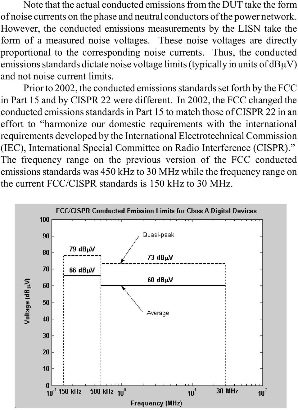 Thus, the conducted emissions standards dictate noise voltage limits (typically in units of dbìv) and not noise current limits.