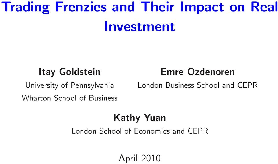 of Business Emre Ozdenoren London Business School and