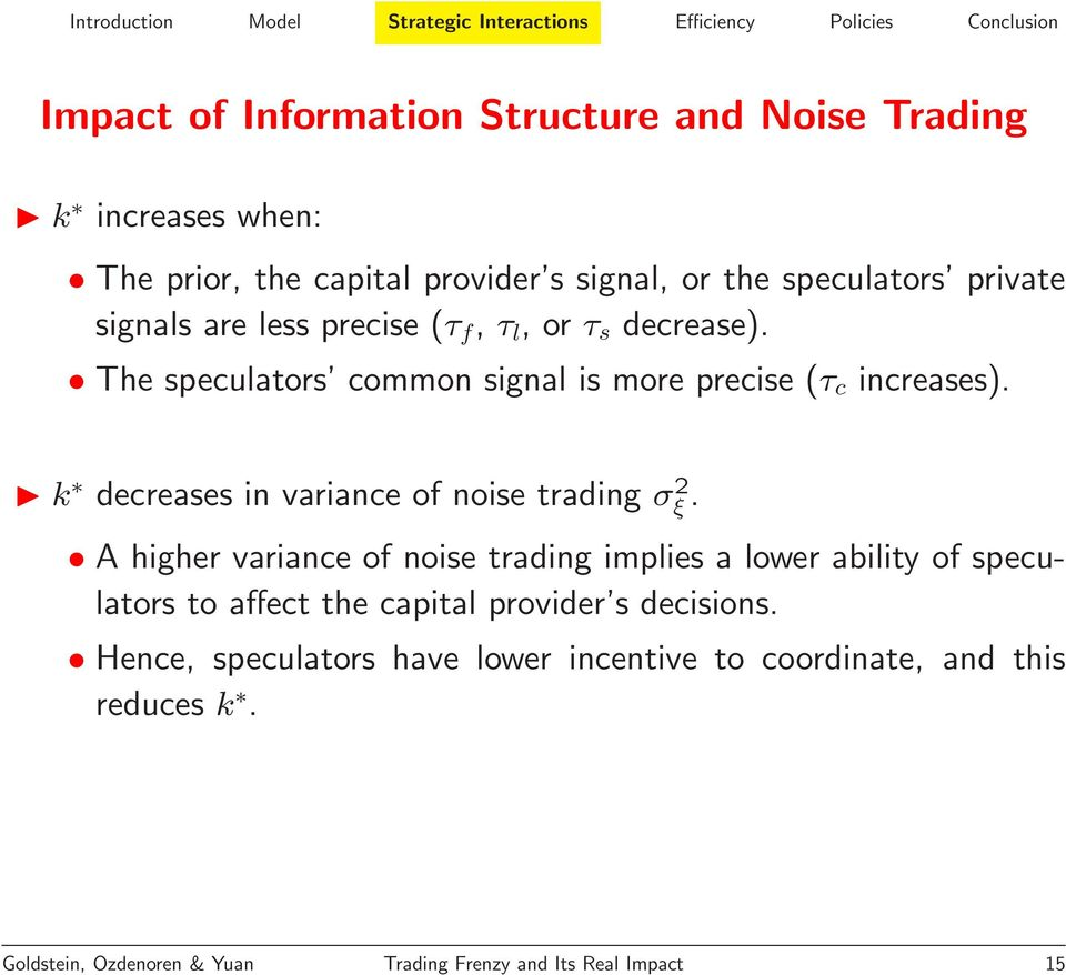 k decreases in variance of noise trading σ 2 ξ.