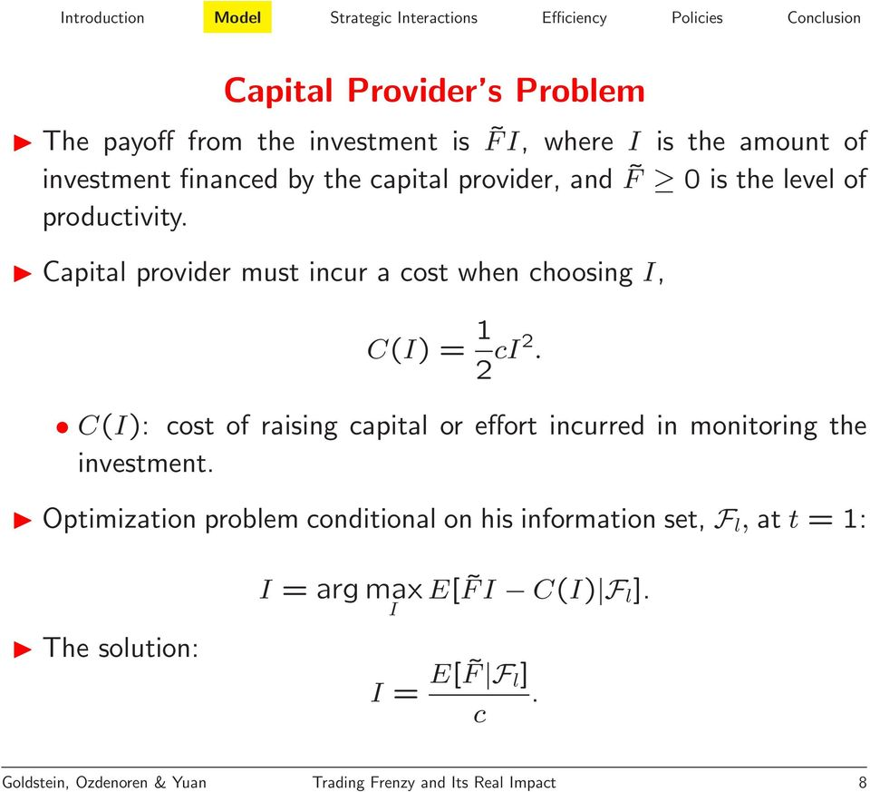 C(I): cost of raising capital or effort incurred in monitoring the investment.