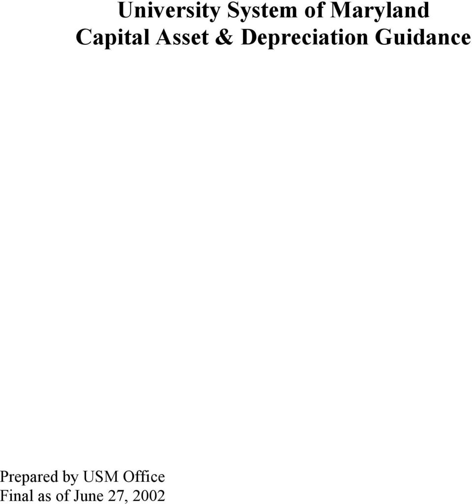 Depreciation Guidance