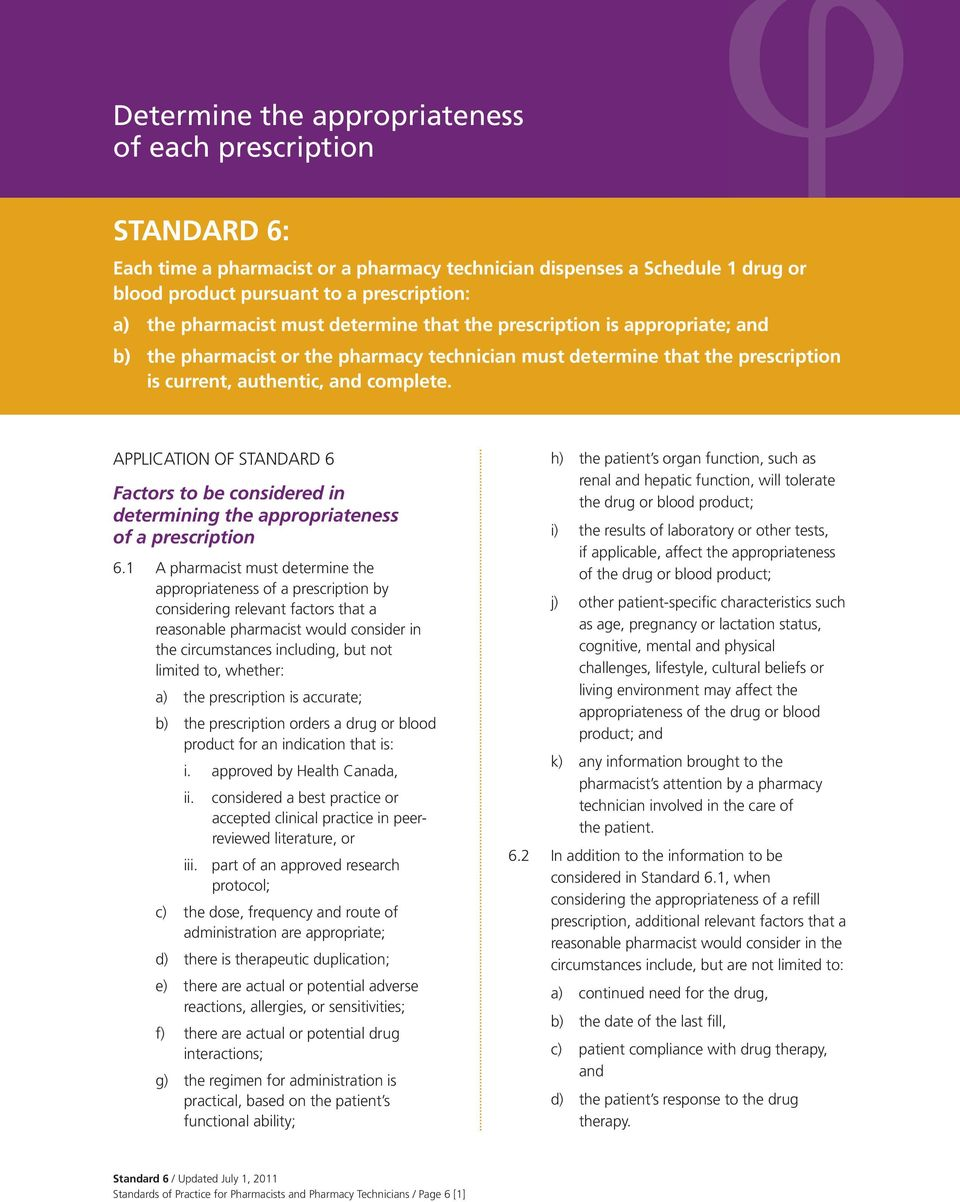 APPLICATION OF STANDARD 6 Factors to be considered in determining the appropriateness of a prescription 6.