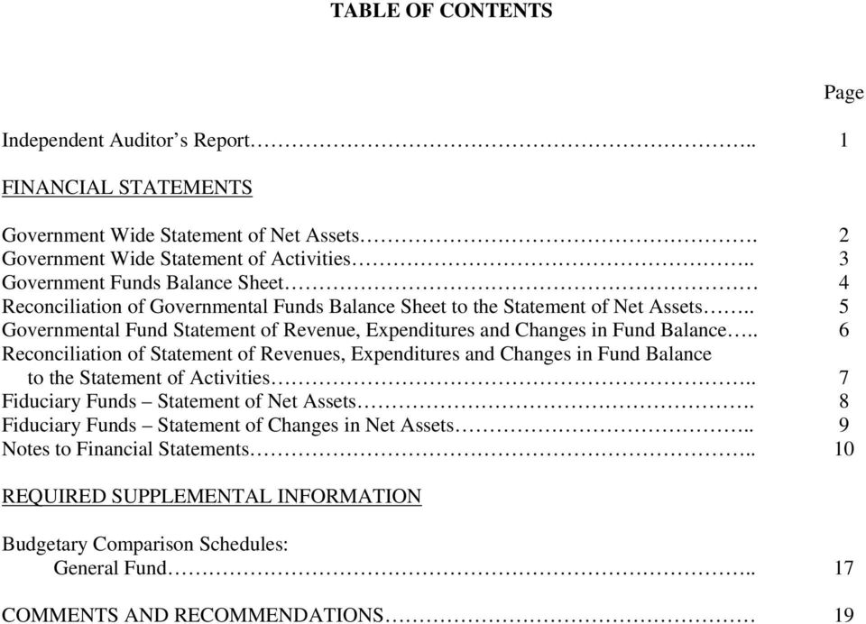 . 5 Governmental Fund Statement of Revenue, Expenditures and Changes in Fund Balance.