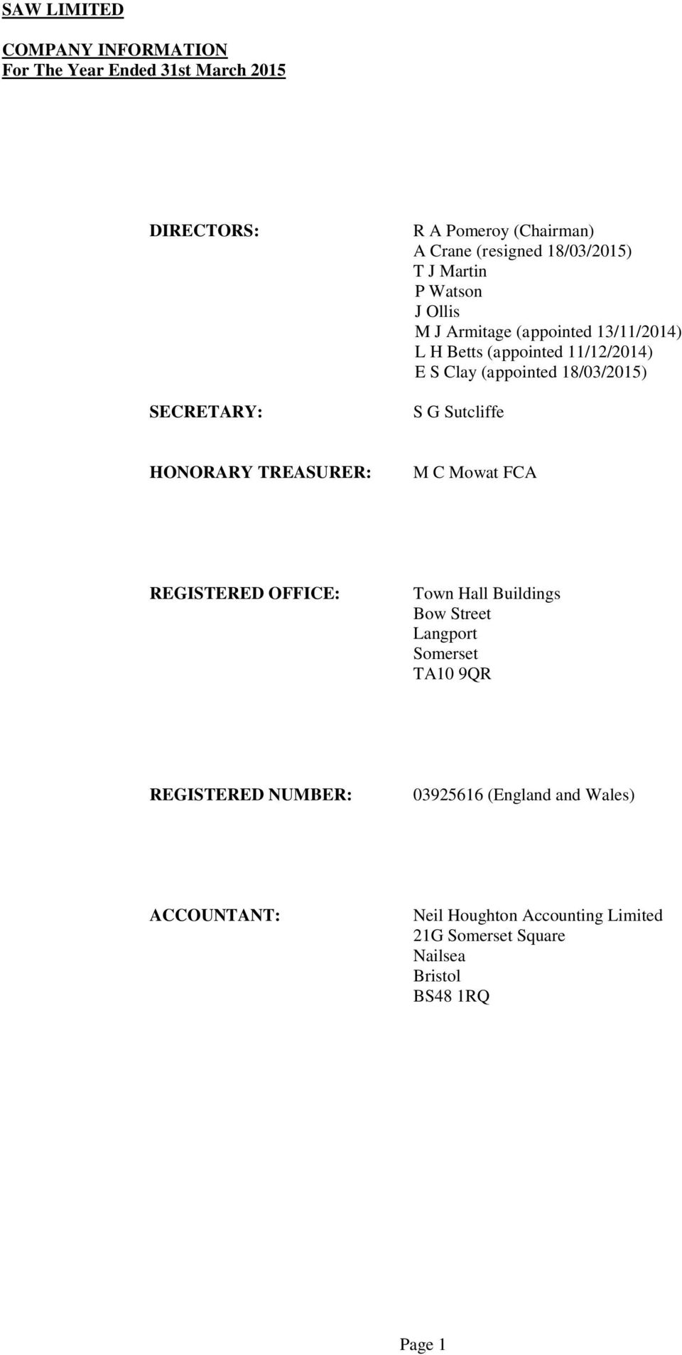 TREASURER: M C Mowat FCA REGISTERED OFFICE: Town Hall Buildings Bow Street Langport Somerset TA10 9QR REGISTERED NUMBER: