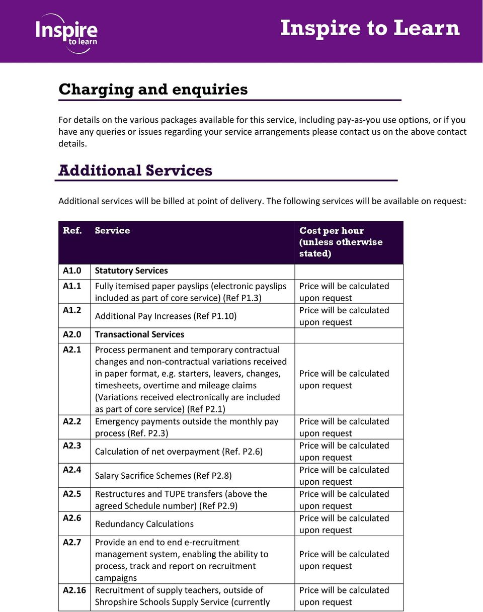 Service Cost per hour (unless otherwise stated) A1.0 Statutory Services A1.1 Fully itemised paper payslips (electronic payslips included as part of core service) (Ref P1.3) A1.