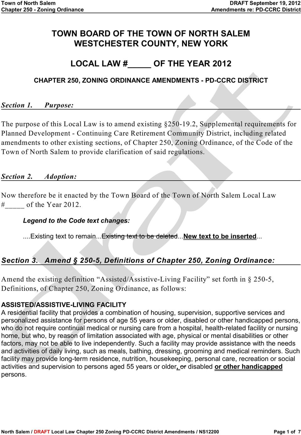 2, Supplemental requirements for Planned Development - Continuing Care Retirement Community District, including related amendments to other existing sections, of Chapter 250, Zoning Ordinance, of the