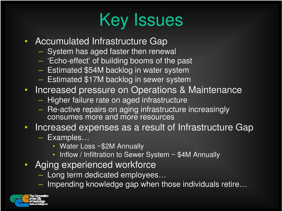 aging infrastructure increasingly consumes more and more resources Increased expenses as a result of Infrastructure Gap Examples Water Loss ~$2M Annually