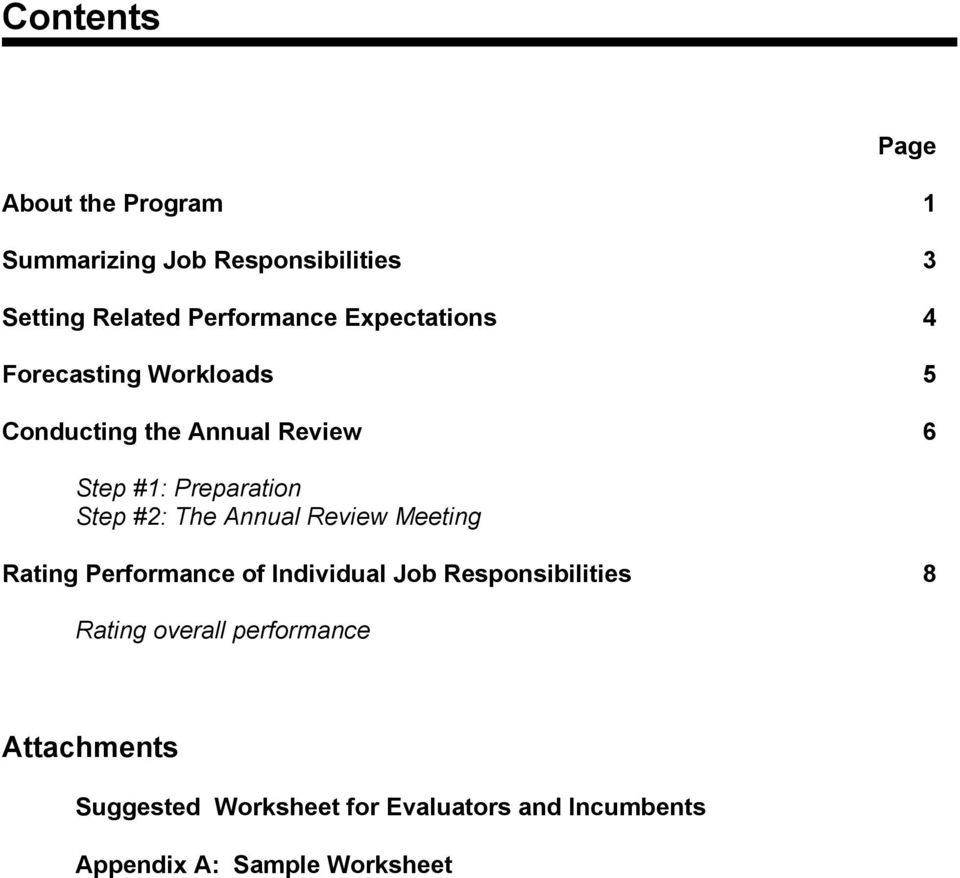 #2: The Annual Review Meeting Rating Performance of Individual Job Responsibilities 8 Rating