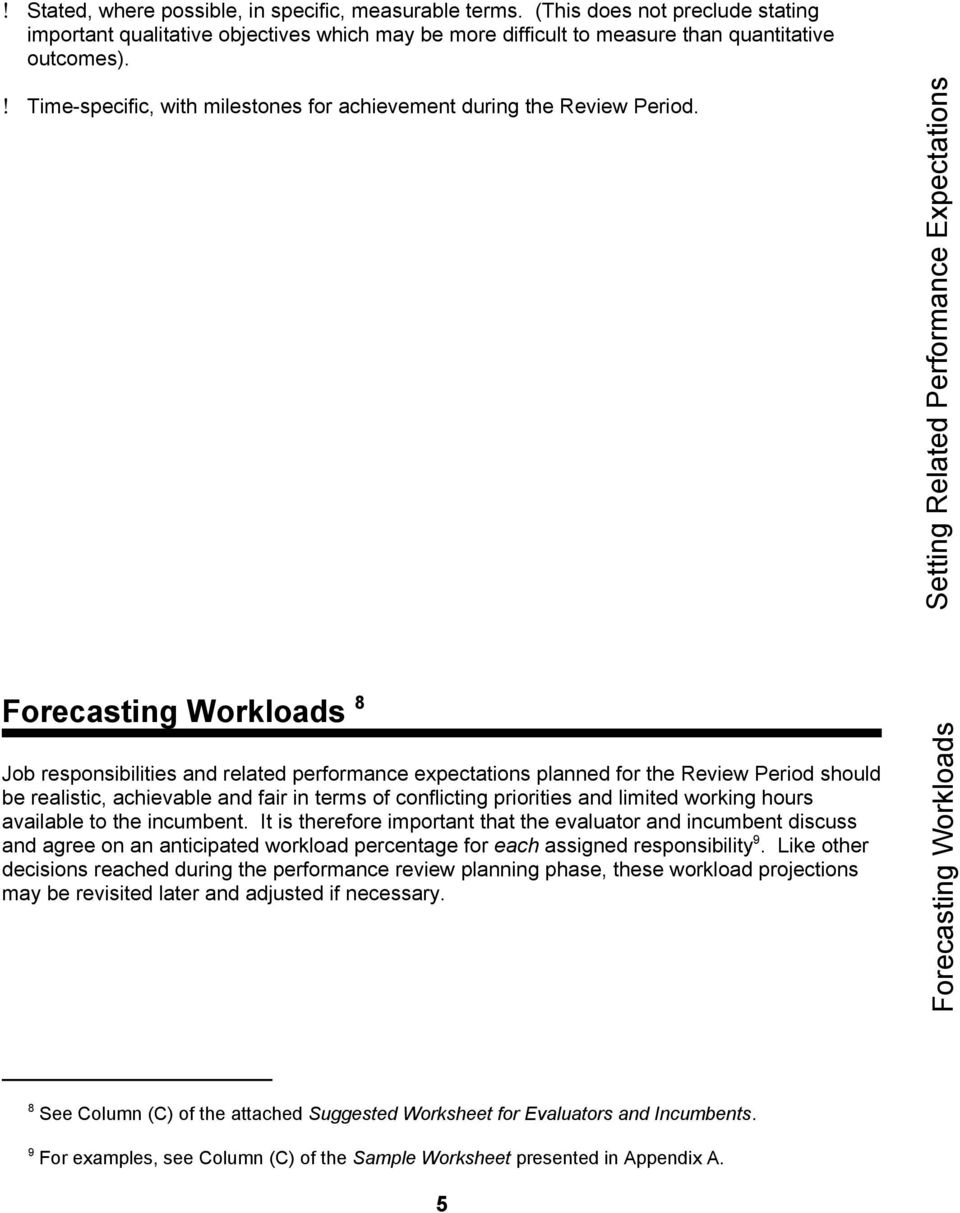 Setting Related Performance Expectations Forecasting Workloads 8 Job responsibilities and related performance expectations planned for the Review Period should be realistic, achievable and fair in
