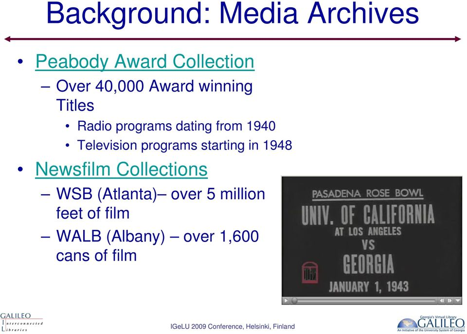 programs starting in 1948 Newsfilm Collections WSB (Atlanta)