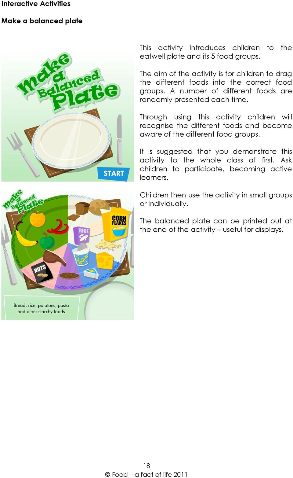 Through using this activity children will recognise the different foods and become aware of the different food groups.