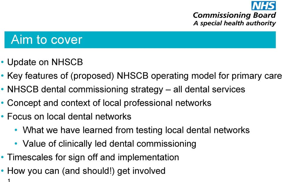Focus on local dental networks What we have learned from testing local dental networks Value of