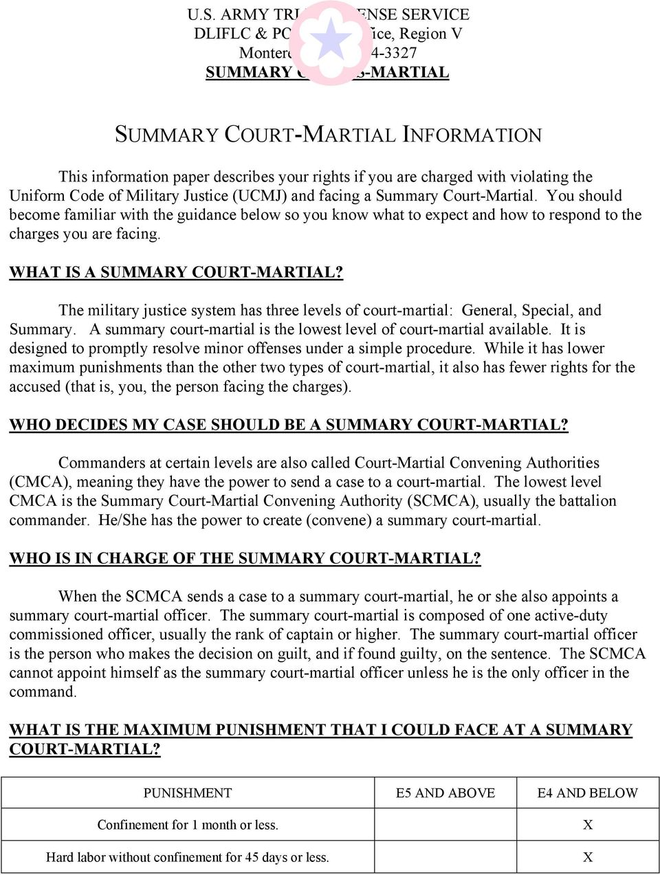 You should become familiar with the guidance below so you know what to expect and how to respond to the charges you are facing. WHAT IS A SUMMARY COURT-MARTIAL?