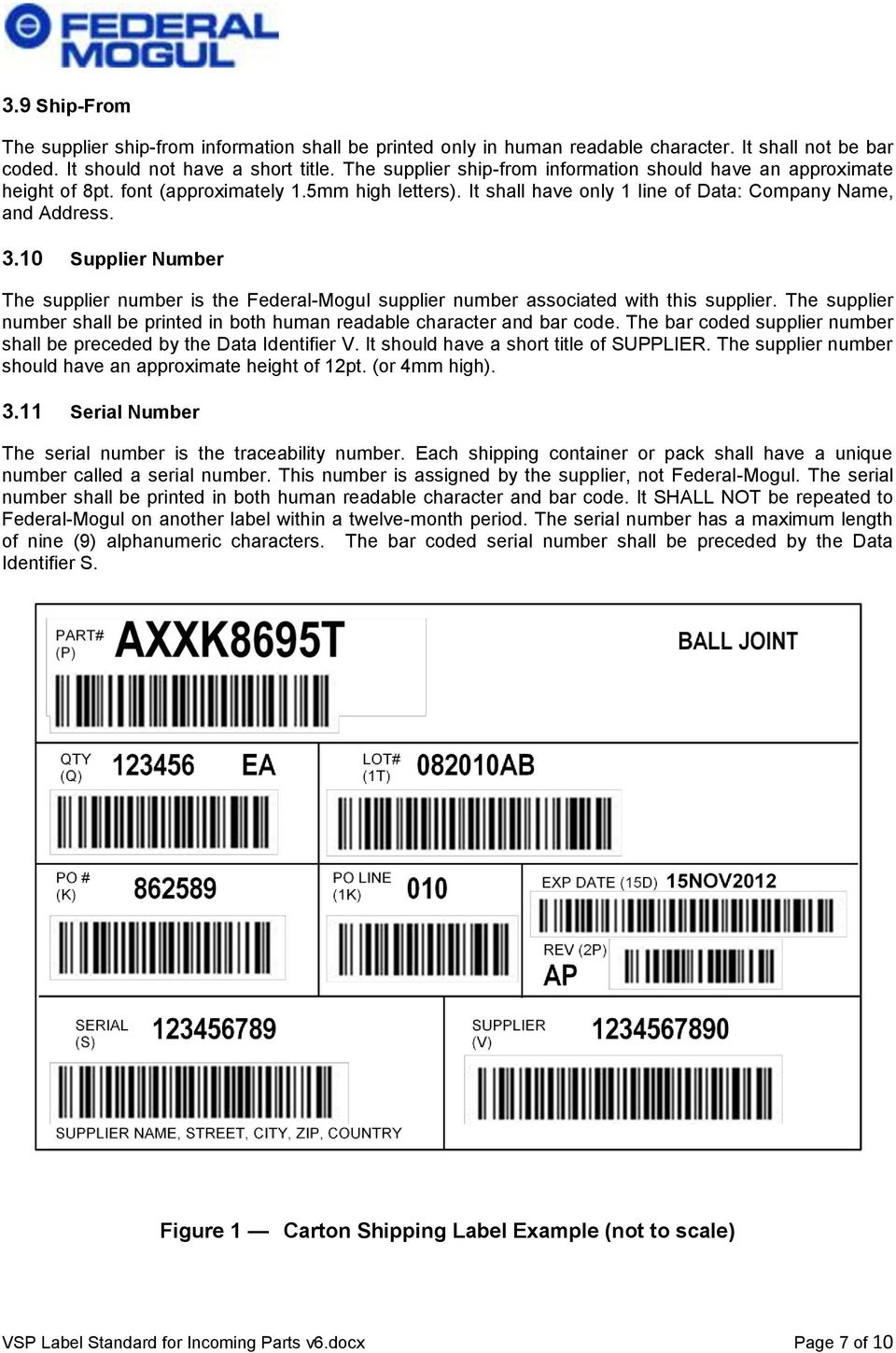10 Supplier Number The supplier number is the Federal-Mogul supplier number associated with this supplier. The supplier number shall be printed in both human readable character and bar code.