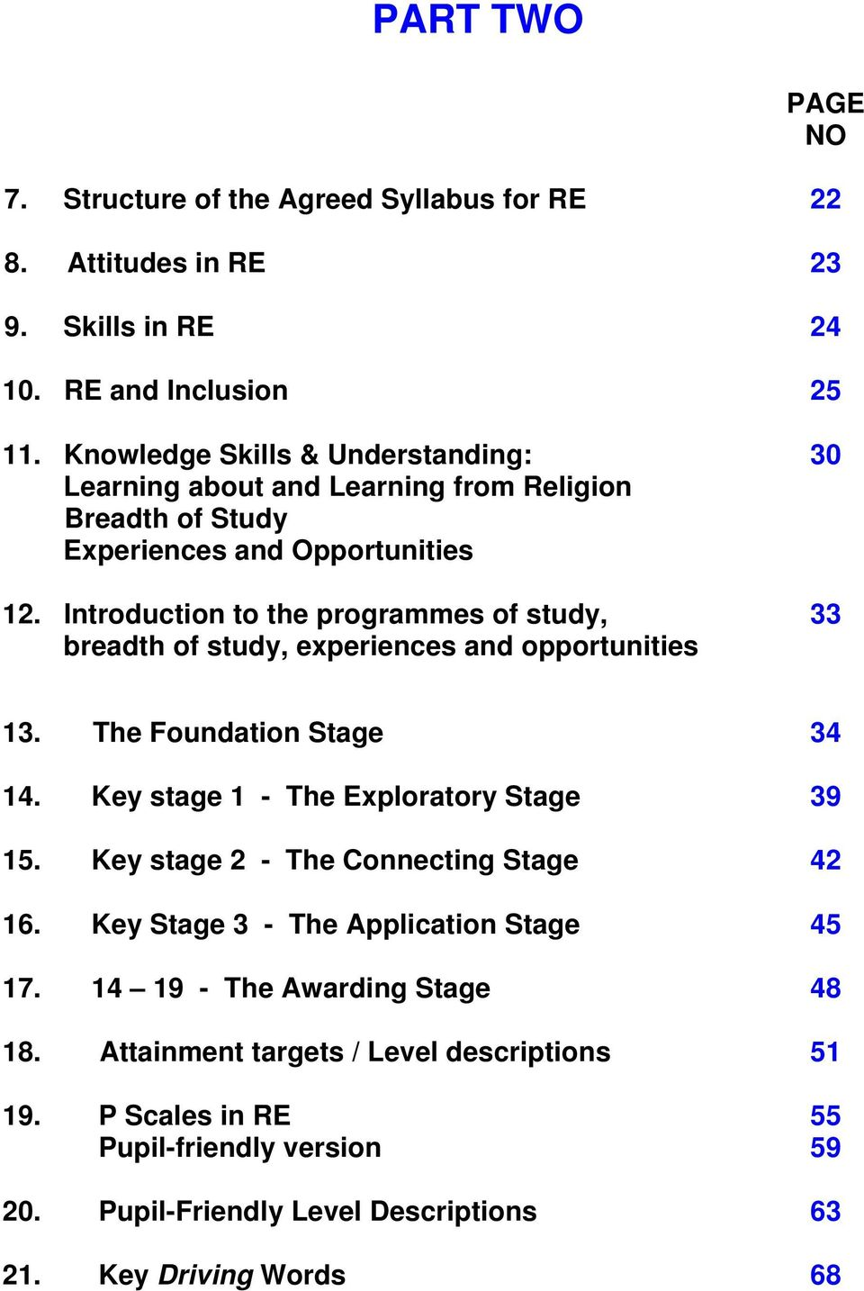 Introduction to the programmes of study, breadth of study, experiences and opportunities 30 33 13. The Foundation Stage 34 14. Key stage 1 - The Exploratory Stage 39 15.
