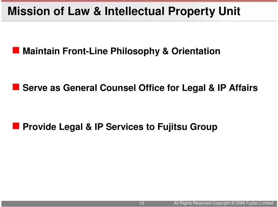 Office for Legal & IP Affairs Provide Legal & IP Services to